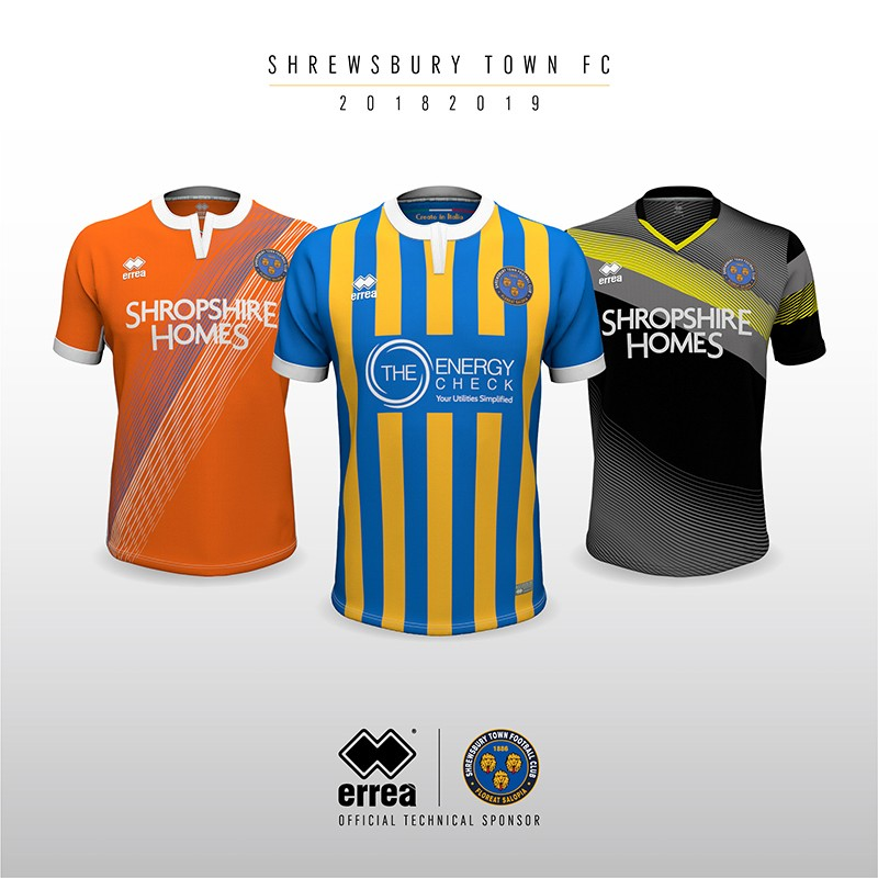 Erreà and Shrewsbury Town unveil the new kits for the forthcoming 2018/19 season