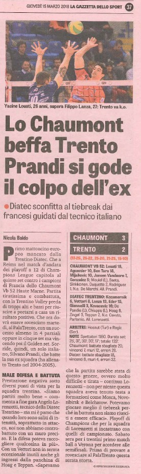 Gazzetta dello Sport - 15 March 2018