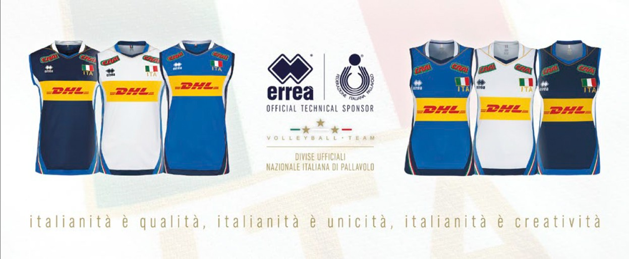 The Italian National Volleyball Teams' kits from Erreà Sport feature the new main sponsor DHL!