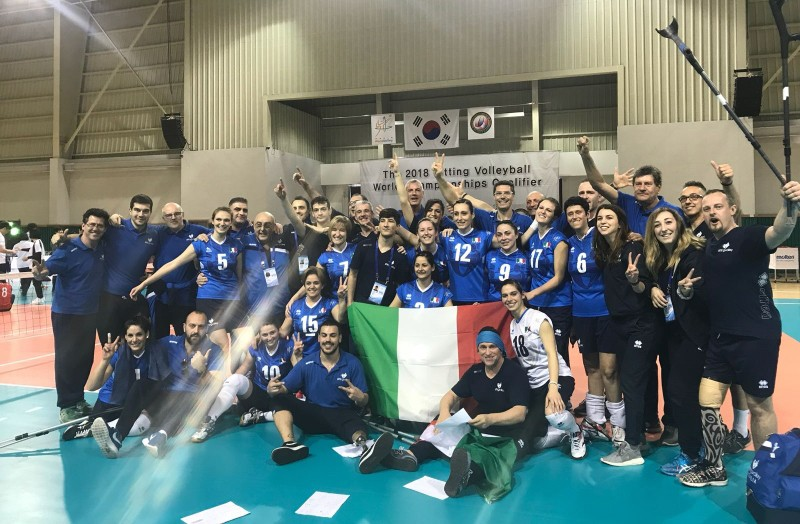 The Italian women's national sitting volleyball team celebrate their first historic World Championships qualification