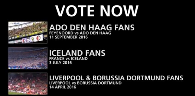 The supporters of Ado Den Haag and those of the Icelandic National team have been shortlisted for the FIFA Fan Award 2016