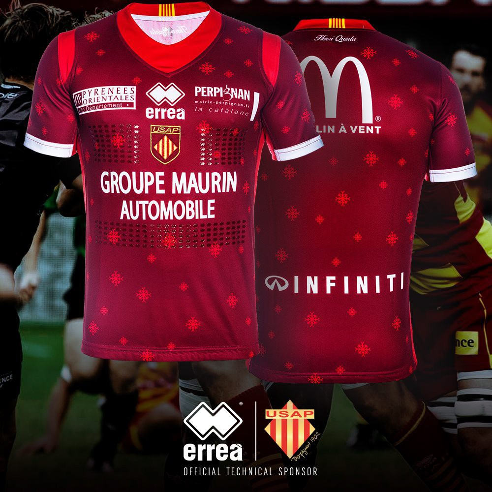 "USAP Rugby unveils it's special ""Christmas edition"" shirt sporting the Erreà logo!"