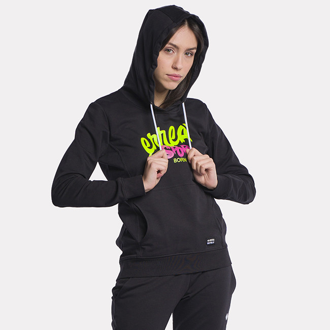 ESSENTIAL SS21 WOMAN MURALES LOGO HOODY AD NERO-3 - REPUBLIC